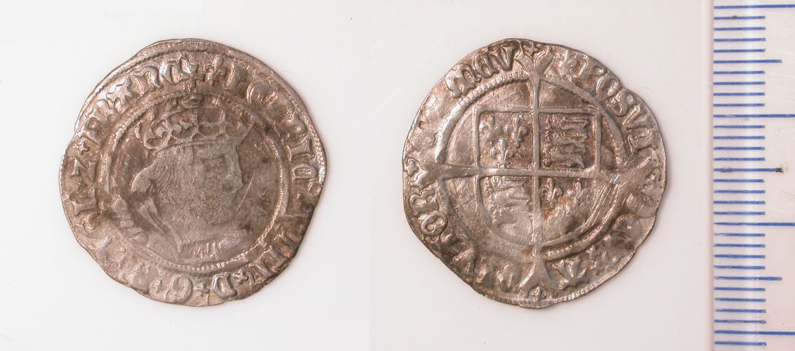 WMID-2E8E76: Post-medieval coin: groat of Henry VIII, second coinage (obverse, reverse)