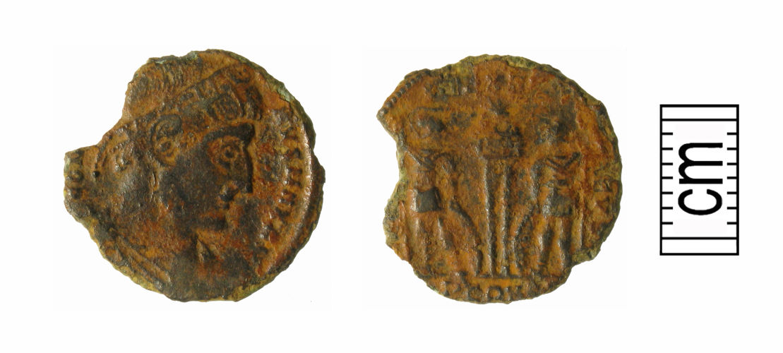 WMID-FB4523: Roman coin: Nummus of Constantine I; gloria exercitus reverse type (two soldiers with two standards); Arles mint; AD330-5; LRBC, pt. 1, p.10 (no. 352); obverse/reverse
