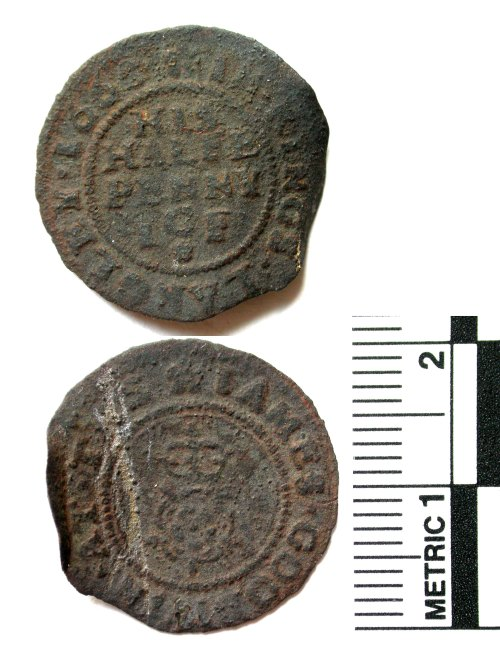 BUC-667F53: Post-medieval trade token halfpenny of James Goodwin of King's Langley, Hertfordshire