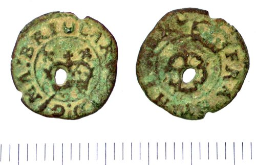 SUR-D6A302: A Post medieval Charles I Rose farthing