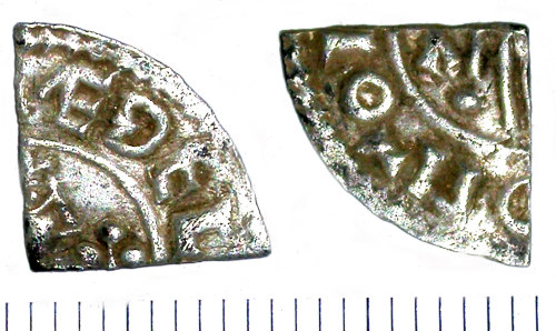SUR-DDDF76: Early medieval coin: Cut farthing of Aethelred II