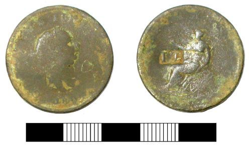 SUR-9375D6: Post medieval coin: Counterstamped penny of George III