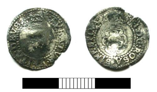 SUR-99ECB2: Post medieval coin: Halfgroat of James I