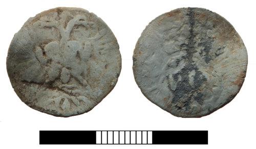 SUR-978B3A: Post medieval: Lead token of Elizabeth I