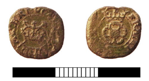 SUR-99A427: Post medieval coin: Rose farthing of Charles I