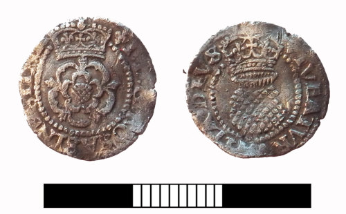 SUR-38ACD5: Post medieval coin: Halfgroat of James I