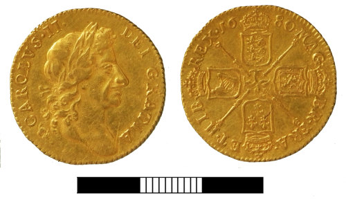 SUR-71876B: Post medieval coin: Guinea of Charles II
