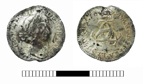 SUR-D450A7: Post medieval coin: Threepence of Charles II