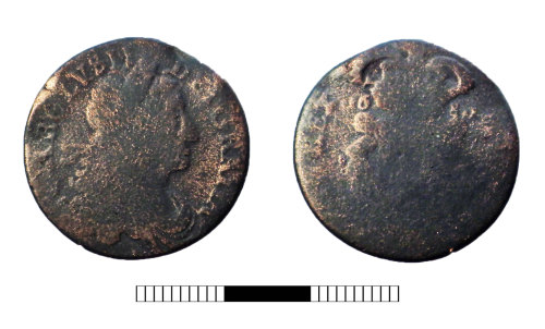 SUR-14B762: Post medieval coin: Irish halfpenny of Charles II