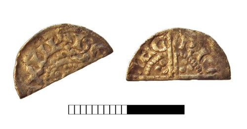 SUR-7FCCCB: Medieval coin: Cut halfpenny of Henry III
