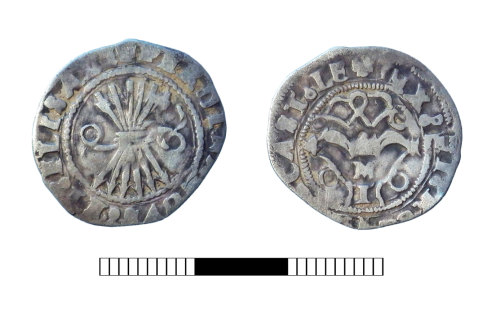 SUR-9F000C: Medieval coin: Halfreal of Ferdinand and Isabella of Spain