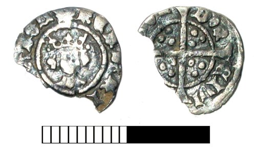 SUR-00B4E7: Medieval coin: Halfpenny of Henry VI