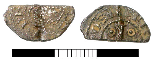 SUR-B101A5: Medieval coin: Cut halfpenny of Henry I
