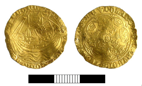 A resized image of Medieval coin: Halfnoble of Henry VI