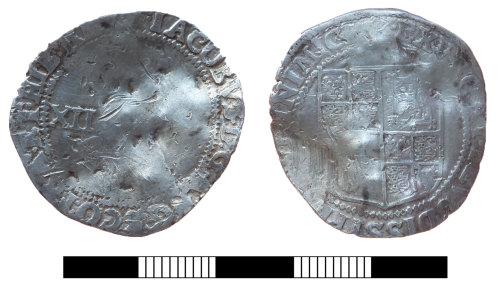 SUR-01CF9E: Post medieval coin: Shilling of James I