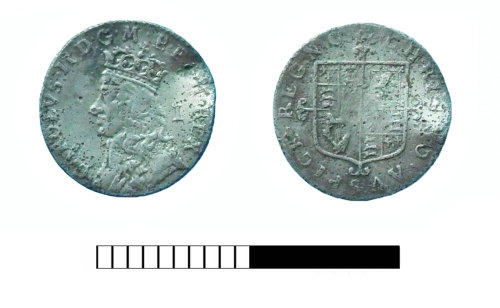 SUR-5461E5: Post medieval coin: Penny of Charles II