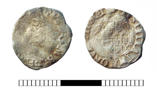 SUR-5F9934: Post medieval coin: Halfgroat of Charles I