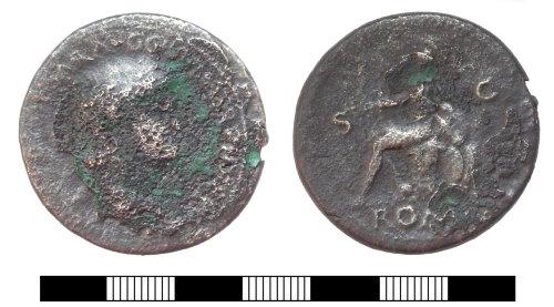 SUR-79FEA1: Roman coin: Sestertius of