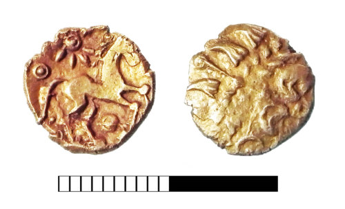 SUR-A85EB8: Iron Age coin: Quarter stater