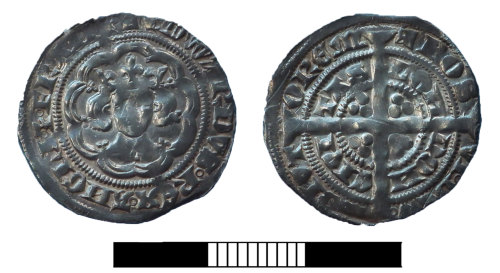 SUR-583DC6: Medieval coin: Halfgroat of Edward III