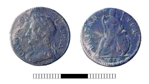 SUR-C2FE8B: Post medieval coin: Farthing of Charles II