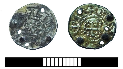 SUR-D134DD: Medieval: Coin brooch made from Henry I halfpenny