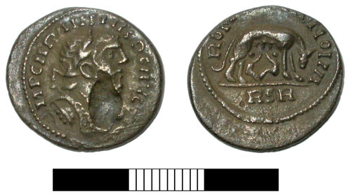 SUR-572A63: Roman coin: Denarius of Carausius