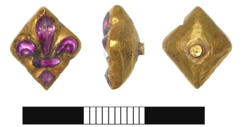 SUR-6D17C2: Medieval or post medieval: Gold and amethyst pin
