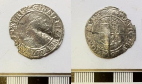 DEV-16E0ED: Post Medieval coin: sixpence of Elizabeth I