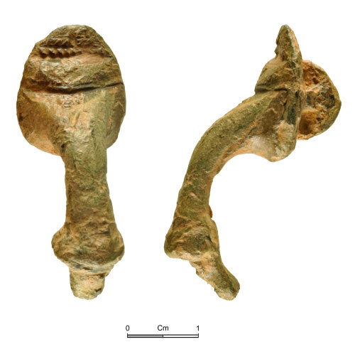 NMGW-5F27FB: Roman copper alloy bow brooch of Trumpet type