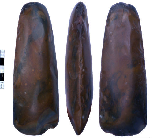 NMS-4C43C4: Neolithic polished flint axehead.
