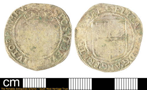 SOM-253767: Post-medieval coin: base silver Irish shilling of Elizabeth I