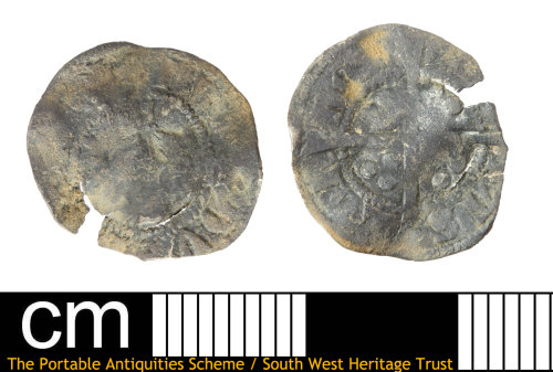 SOM-6098E5: Medieval coin: half penny probably of Edward III