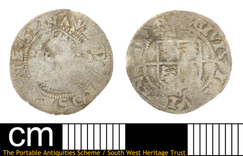 SOM-90653A: Post-medieval coin:  three halfpence of Elizabeth I