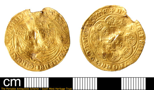 SOM-9FA645: Medieval gold half-noble of Edward III