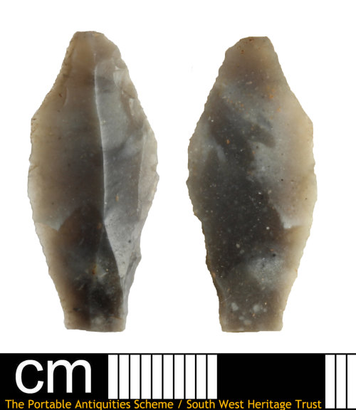 DEV-E8A637: Neolithic tool, either a leaf arrowhead left unfinished or a side scraper