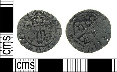 LON-4E968E: Medieval silver long cross half penny coin of Edward I class1d -9c .