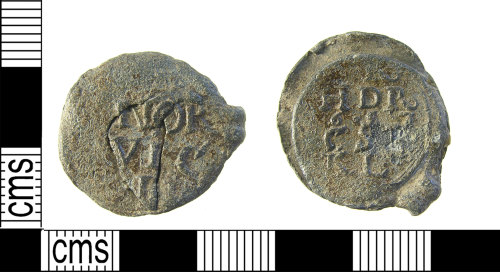 LON-490B94: Complete post medieval, 17th century, two part circular, lead cloth seal of the Norwich Weavers guild, dated AD.1657.