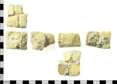 LON-0C2D4E: Fragment of Roman mosaic flooring consisting of 4 joined tesserae.