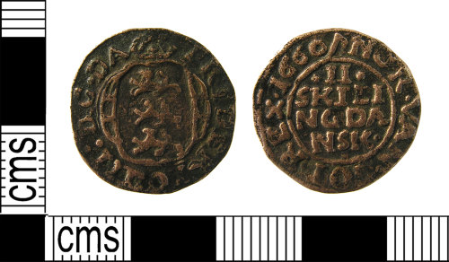 LON-4F242D: Post Medieval. 17th century, copper alloy danish II Skilling coin of Frideric III, dated AD.1660.