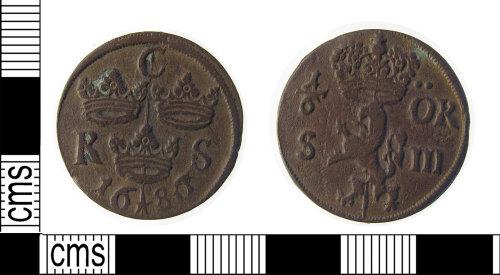 LON-061999: Copper alloy post medieval, 17th century, swedish coin, 1/6 Ore, dated AD.1686.