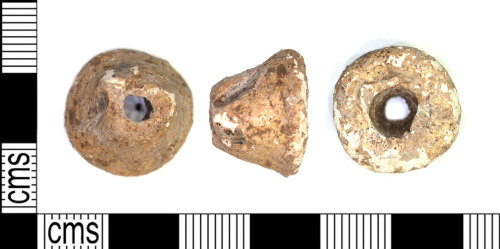 LEIC-425597: Early medieval lead alloy spindle whorl, 500-1000