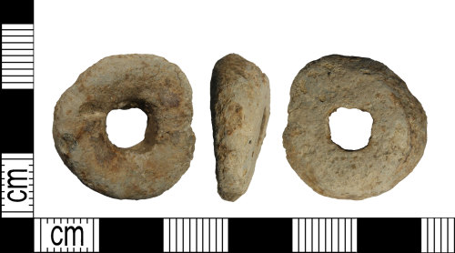 LEIC-747A04: Early medieval or medieval lead alloy spindle whorl