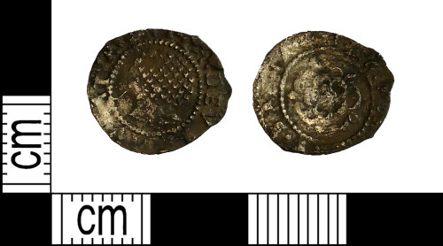 LEIC-7A10AA: Post medieval silver penny of James I, 1604-1619