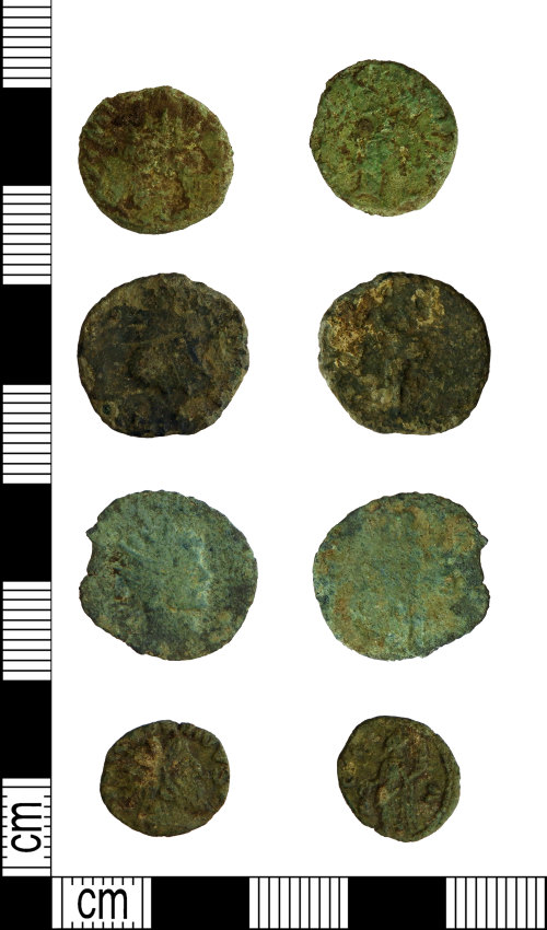 LEIC-7CAD62: Four Roman copper alloy radiates, 215-275
