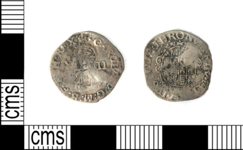 LEIC-83A6AC: Post medieval silver half groat of Charles I, 1648-9
