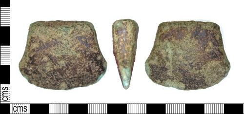 LEIC-9B2161: Bronze age copper alloy axe fragment