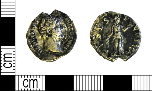LEIC-DDDB45: Roman silver denarius of Hadrian, 137