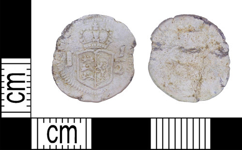 LEIC-F1E8D9: Post medieval lead alloy token, 1707-1800