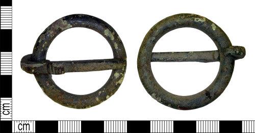 LEIC-F35269: Medieval copper alloy annular brooch or buckle, AD 1100-1400